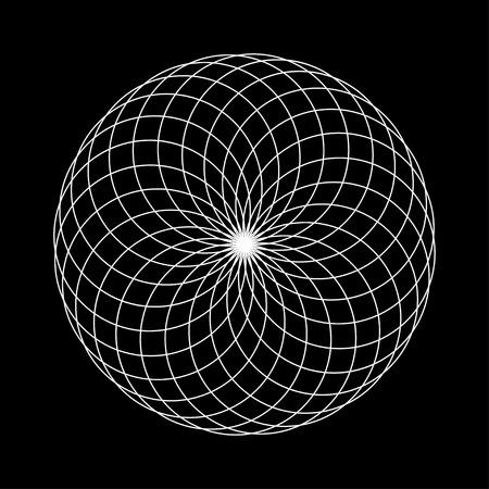 sacred geometry round illustration on black background