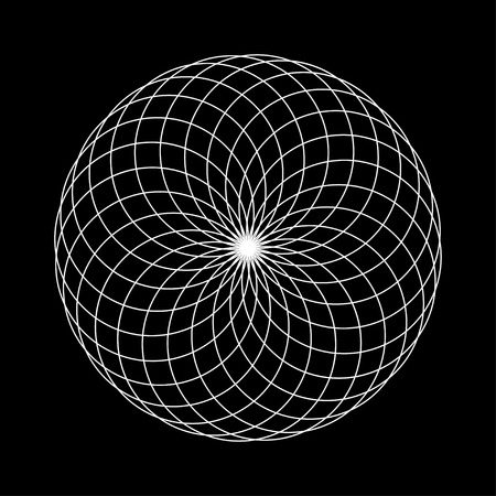 sacred geometry round illustration on black background Illustration