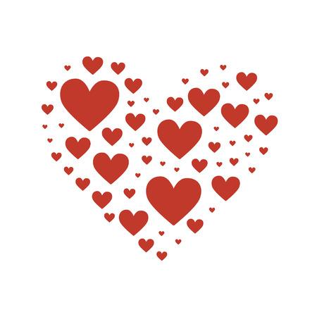 Gran corazón compuesto de pequeños corazones rojos. Ilustración vectorial de stock