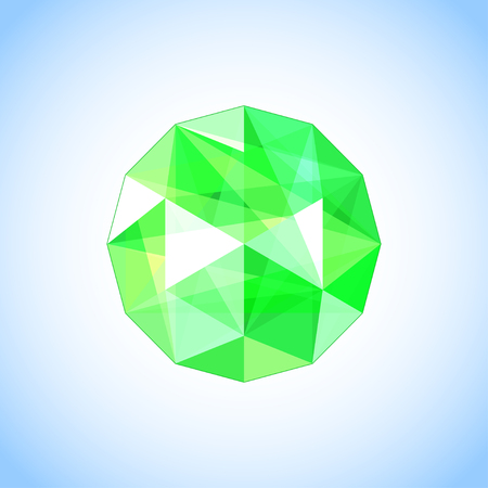 Realistic emerald jewel shaped. Green gem vector illustration.