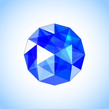 Realistic sapphire shaped. Blue gem Design vector illustration. Illustration