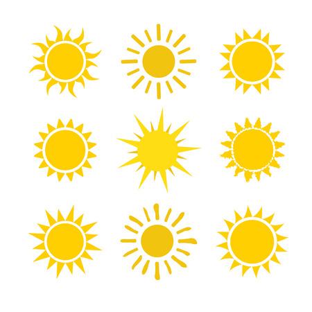 Yellow sun icon set isolated on white background. Modern simple flat sunlight, sign. Trendy vector summer symbol for website design, web button, mobile app. Stock illustration Illustration