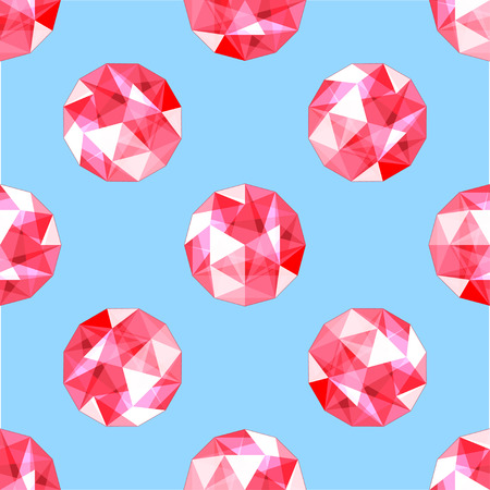 seamless pattern of realistic red ruby gems. Design vector illustration.