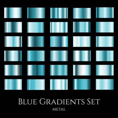 Blue metal gradient set. Gradation design swatches collection.