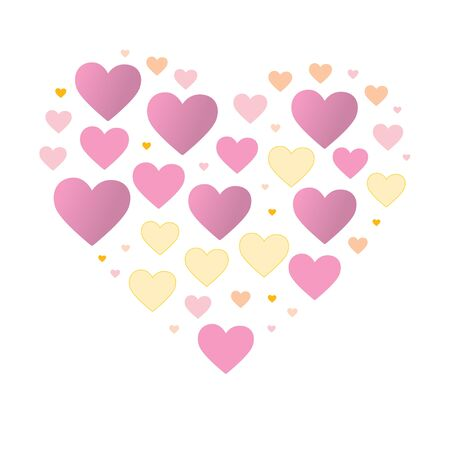 Big heart composed of small pastel color hearts. Stock vector illustration. Eps10 emblem