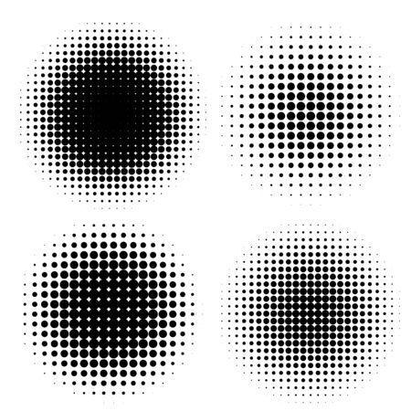 Abstract halftone circle shapes set.
