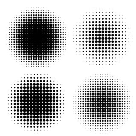 Abstract halftone circle shapes set.