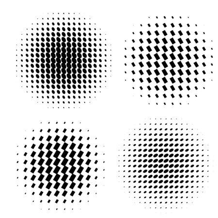 Abstract halftone circle shapes set