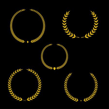 laurel leaf: Best award Vector gold award laurel wreath set. Winner label, leaf symbol victory, triumph and success illustration. Illustration