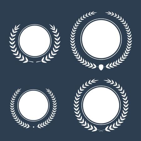 laurel leaf: Best award Vector award laurel wreath set. Winner label, leaf symbol victory, triumph and success illustration.