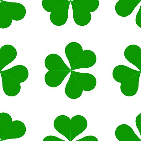 Green Lucky Four Leaf Irish Clover for St. Patricks Day seamless vector pattern