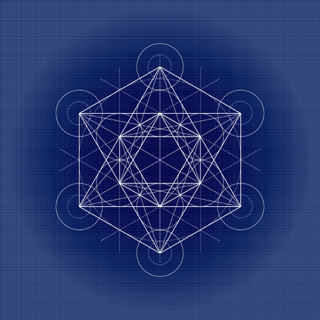 Metatrons cube, sacred geometry vector illustration on technical paper