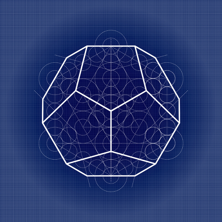 Dodecahedron from Metatrons cube, sacred geometry vector illustration on technical paper Illustration