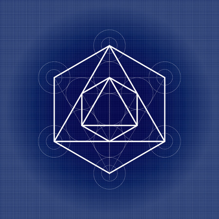 Octahedron from Metatrons cube, sacred geometry vector illustration on technical paper
