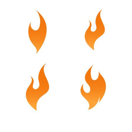 Fire flame logo icon gradient vector set
