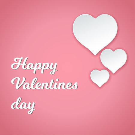 Fröhlichen Valentinstag. Romantische Postkarte mit Papierherzen, Karte, Einladung, Bannervorlage Vektorgrafik