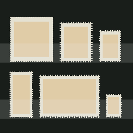 Blank postage stamp set. Toothed border stickers in different size. Vector flat style illustration on dark background Ilustrace