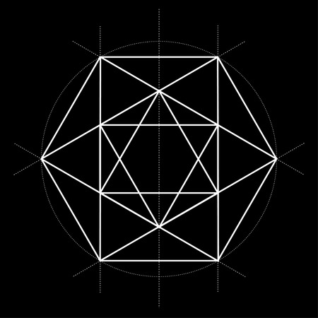 sacred geometry vector star illustration on black background