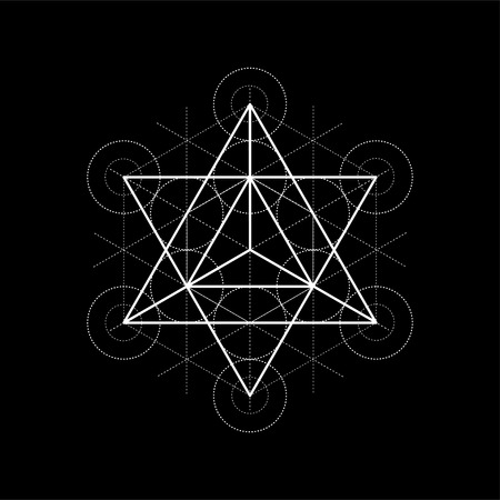 Star tetrahedron from Metatrons cube, sacred geometry vector illustration on black background