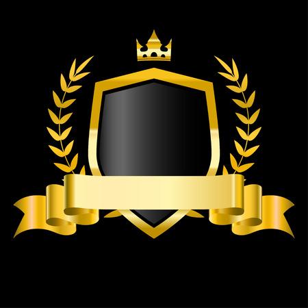 Bouclier doré avec couronne de laurier, étoiles et ruban. Illustration vectorielle pour la conception Vecteurs