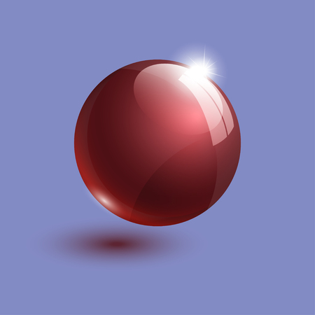 realistic red glass ball 3d illustration
