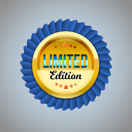 The Golden and blue badge limited edition. Vector illustration for design Vector Illustratie