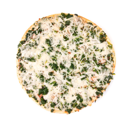 spinach pizza isolated on white, top view Zdjęcie Seryjne