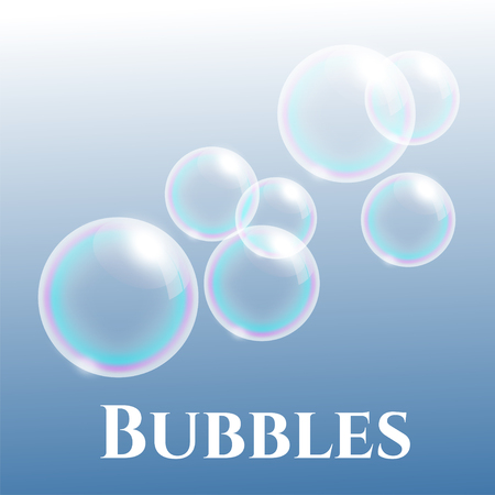 group of transparent soap bubbles with reflection, vector illustration Illustration