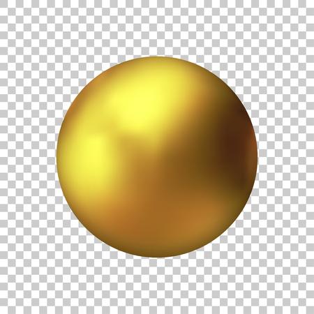 Sfera d'oro realistica, palla d'oro vettoriale