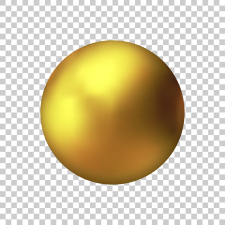 Realistic gold sphere, vector golden ball