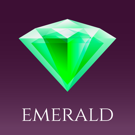 Vector illustration of triangle crystal isolated. Emerald symbol for logo or design