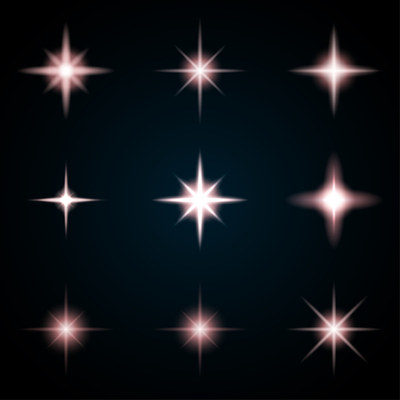 Set of various starry flare elements. Vector illustration with light effects for graphic design.