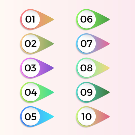 Number bullet pointers 3d gradient markers 1 to 10. Vector set for design