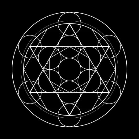 symbole de la géométrie sacrée. Cube de métatrons sur illustration vectorielle fond noir Vecteurs