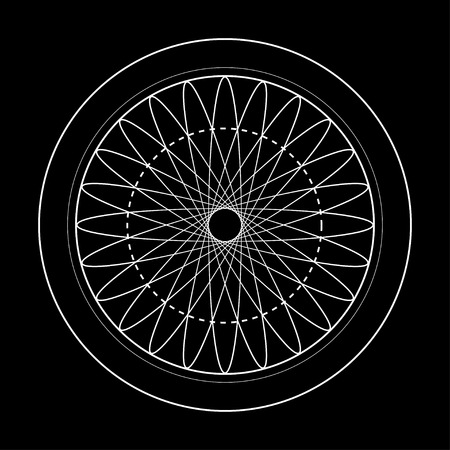 sacred geometry symbol illustration. Energy rotated circles Vettoriali