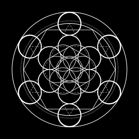 sacred geometry symbol. Metatrons cube on black background vector illustration