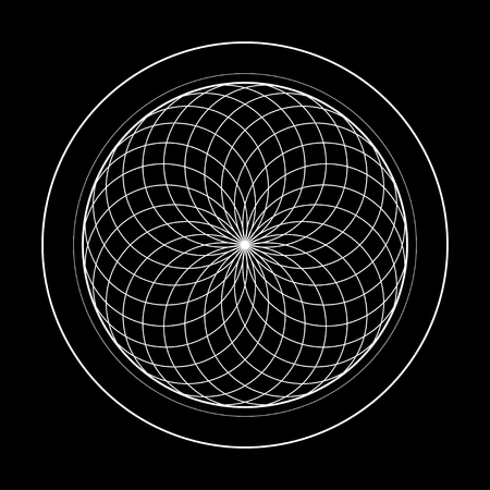 sacred geometry symbol illustration. Energy rotated circles