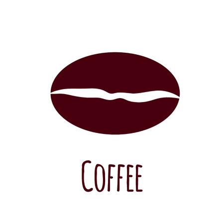 Vector coffee bean icon. Simple flat illustration