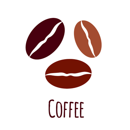 Vector coffee beans icon. Simple flat illustration