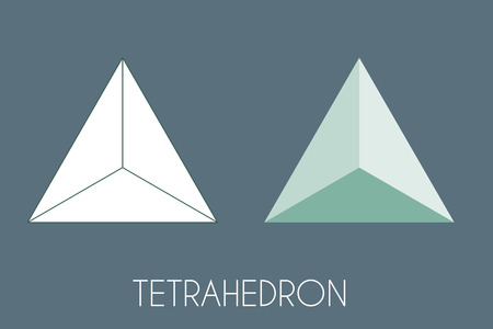 Tetrahedron Platonic solid. Sacred geometry vector illustration