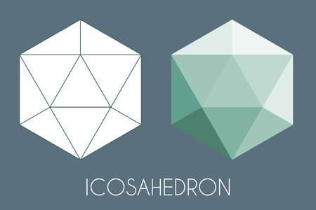Icosahedron Platonic solid. Sacred geometry vector illustration