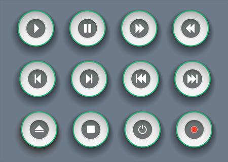 pulsanti del giocatore impostati in stile carta tagliata. Simboli per riprodurre, interrompere, mettere in pausa e spostare la clip in avanti e indietro.