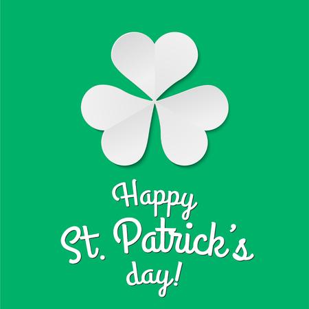 Paper clover trefoil symbol. Happy patricks day pictogram concept. Trendy symbol. Vector illustration.