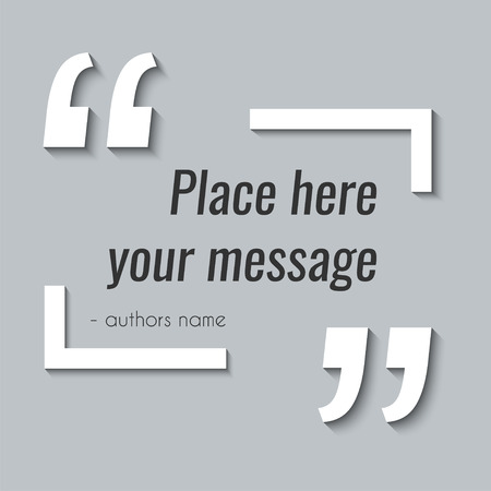 Vector empty quote text box template. Design element for excerption