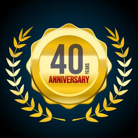 Logo d'insigne d'or et de rouge d'anniversaire de 40 ans. Illustration vectorielle eps10