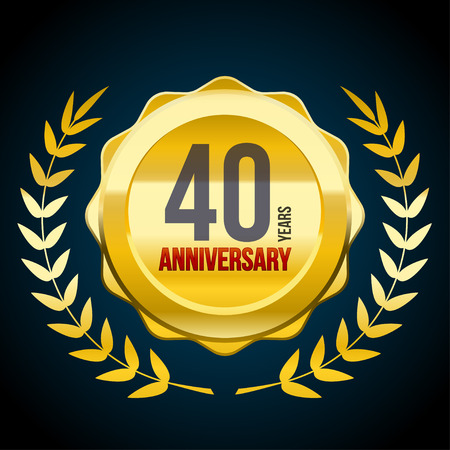 40 Years anniversary Gold and Red badge logo. Vector illustration eps10
