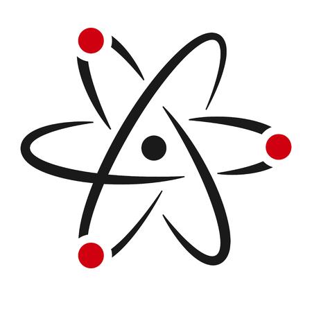 Icona del segno di atomo. Simbolo della scienza isolato per il design