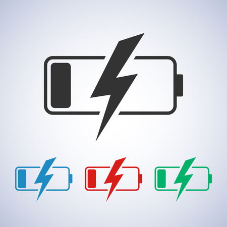 discharged battery icon in blue green and red colors - stock vector illustration Illustration