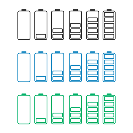 discharged to fully charged batteries, isolated vector icons - stock illustration