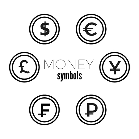 Dollar, Euro, Pound, Yuan Rouble and frank currency icons. USD, EUR, GBP, CNY, CHF, RUB money sign symbols. Flat icon pointers.